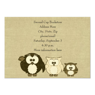 Vintage Owl Family Linen Look Party Invitation