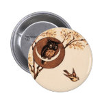 Vintage Owl in Moon 2 Inch Round Button