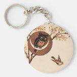 Vintage Owl in Moon Basic Round Button Keychain