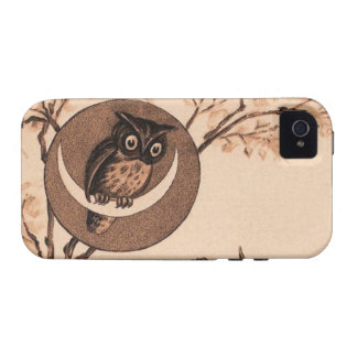 Vintage Owl in Moon Case-Mate iPhone 4 Cases