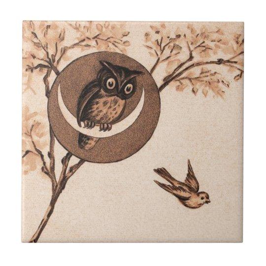 Vintage Owl in Moon Ceramic Tile