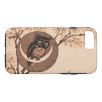 Vintage Owl in Moon iPhone 7 Case