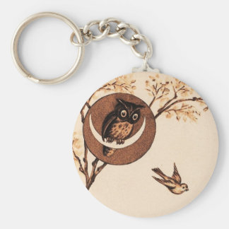 Vintage Owl in Moon Keychain