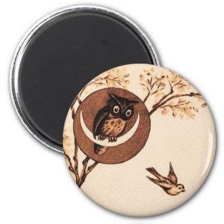 Vintage Owl in Moon Magnet