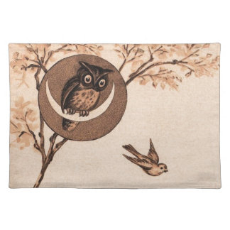 Vintage Owl in Moon Placemat