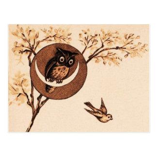 Vintage Owl in Moon Post Cards
