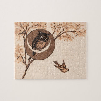 Vintage Owl in Moon Jigsaw Puzzle