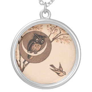 Vintage Owl in Moon Silver Plated Necklace