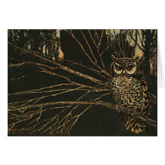 Vintage Owl in the Woods Greeting Cards