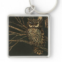 Vintage Owl in the Woods Keychain