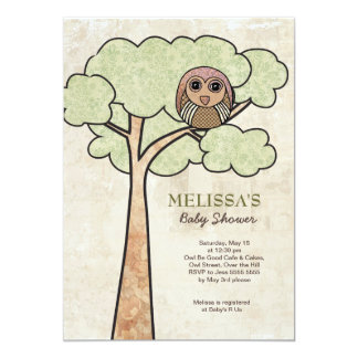 Vintage Owl in Tree Baby Shower Party Invite` 5x7 Paper Invitation Card