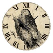 Vintage Owl Large Clock