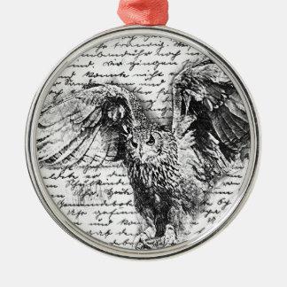 Vintage owl metal ornament