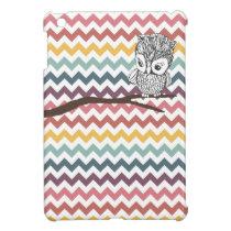 Vintage Owl Multi-colored Chevron / Zig-Zag iPad Mini Case