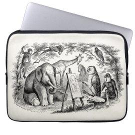 Vintage Owl Painting Elephant 1800s Jungle Scene Laptop Sleeves