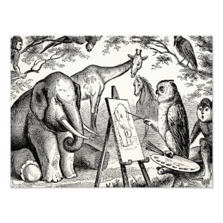 Vintage Owl Painting Elephant 1800s Jungle Scene Photo Print