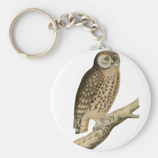 Vintage Owl Perched on Treebranch keychain