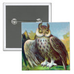 Vintage Owl Print Pinback Button