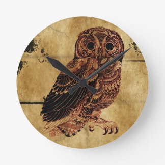 Vintage Owl Round Clock