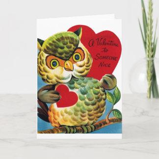 Vintage Owl Valentine's Day Card