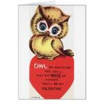 Vintage Owl Valentine's Day Greeting Card