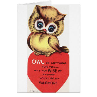 Vintage Owl Valentine's Day Greeting Card