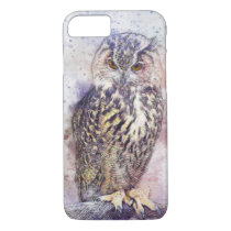 Vintage Owl Watercolor Bird iPhone 8/7 Cases