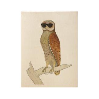 Vintage Owl Wearing Sunglasses Wood Poster