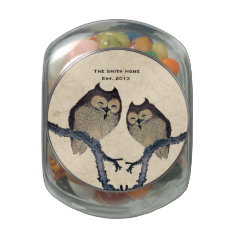 Vintage Owl Wedding Personalized Glass Candy Jar at Zazzle
