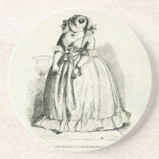 Vintage Owl Woman Drink Coasters