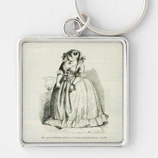 Vintage Owl Woman Key Chain