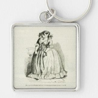 Vintage Owl Woman Keychain
