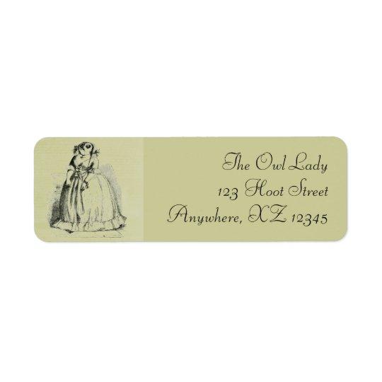 Vintage Owl Woman Label