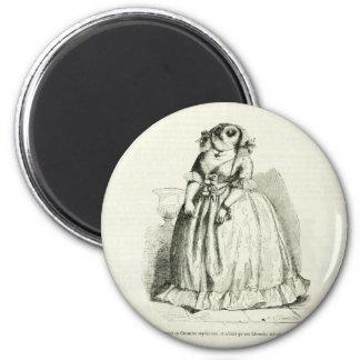Vintage Owl Woman Magnet