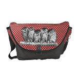 Vintage Owls and Red Polka Dots Messenger Bags