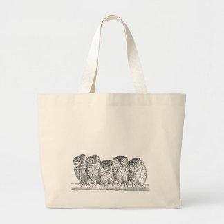 Vintage Owls Large Tote Bag