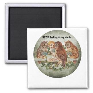vintage owls playing poker game magnet