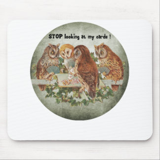 vintage owls playing poker game mouse pad