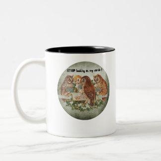 vintage owls playing poker game Two-Tone coffee mug