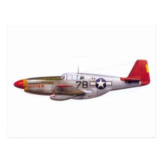 Vintage P-51 Mustang Tuskegee Airmen World War II Postcard