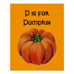 Vintage P Is For Pumpkin Poster