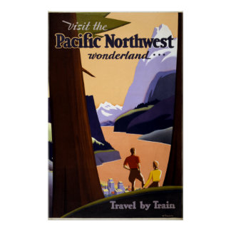 Vintage Pacific Northwest Wonderland Travel Poster