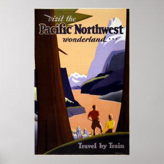 Vintage Pacific Northwest Wonderland Travel Poster