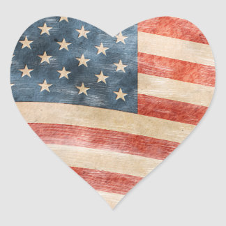Vintage Painted American Flag Heart Stickers