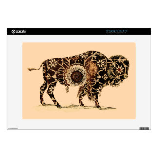 "Vintage Painted Bison Decals For 15"" Laptops"