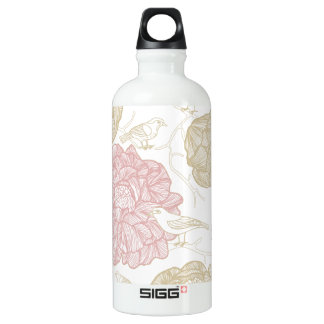 Vintage Painted Flowers and Birds Pattern Aluminum Water Bottle