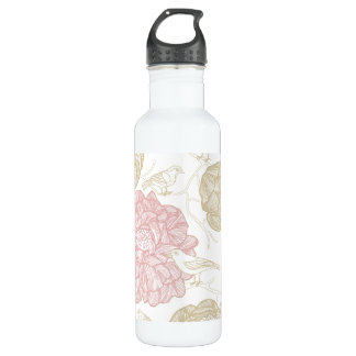 Vintage Painted Flowers and Birds Pattern Stainless Steel Water Bottle