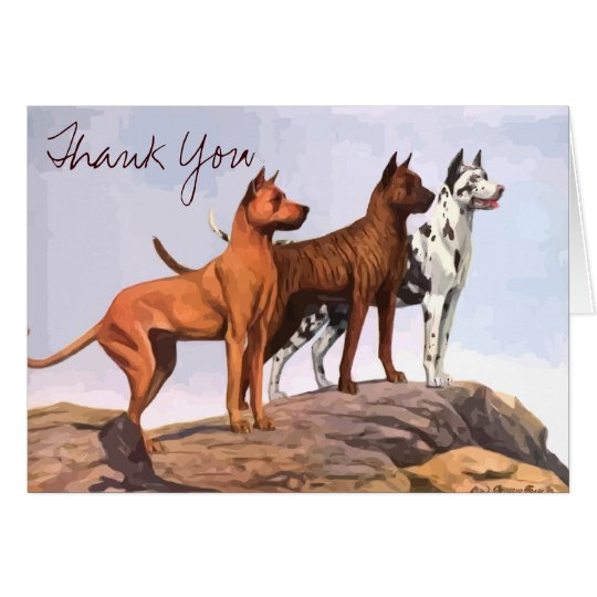 Vintage Painted Great Danes Thank You Note Card