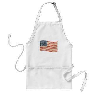 Vintage Painted Look American Flag Adult Apron