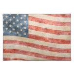 Vintage Painted Look American Flag Cloth Placemat
